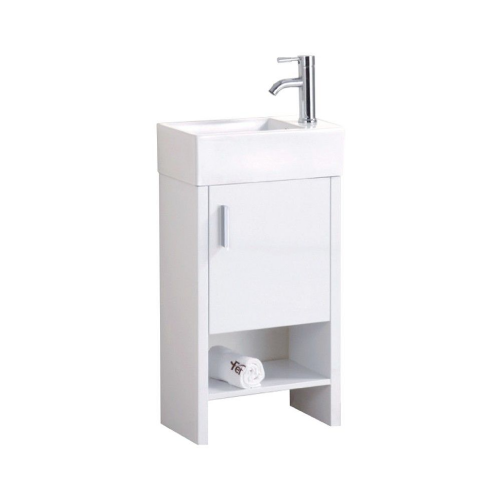 Oslo 450mm White Gloss Floor Standing Cabinet & Basin - 1 Tap Hole